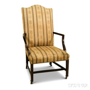 Superb Federal Style Upholstered Mahogany Lolling Chair