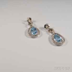 14kt White Gold, Dyed Blue Topaz, and Diamond Earrings