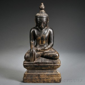 Lacquered and Parcel-gilt Figure of Sakyamuni
