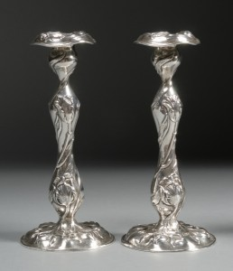 Pair of Dominick & Haff Art Nouveau Weighted Sterling Candlesticks