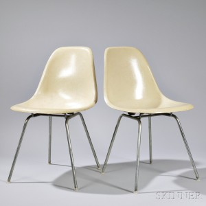 Two Shell Chairs By Charles And Ray Eames, Manufactured By Herman Miller,  Zeeland,