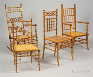 Four American Victorian Faux Bamboo Maple Chairs