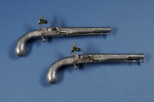 Sold for: $15,000 - Pair of All-Steel Pistols by T. Murdoch