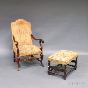 Jacobean Style Mahogany Carved And Upholstered Armchair And Ottoman