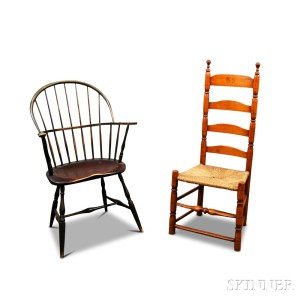 Wonderful Painted Sack Back Windsor Chair And A Maple Ladder Back Side Chair