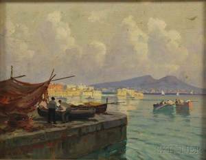 Italian School, 19th/20th Century      View from a Quai Across the Bay of Naples.