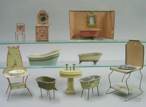 Group of Doll House Bathroom Furniture by Marklin and Others