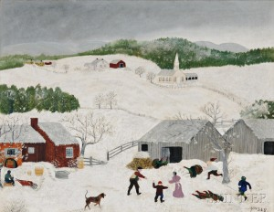 Anna Mary Robertson, called Grandma Moses (American, 1860-1961)      Catching the Turkey, Thanksgiving
