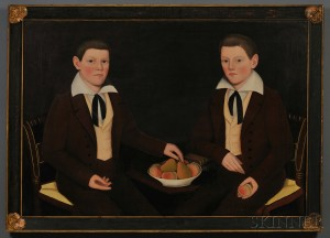 Sold for: $880,000 - Ammi Phillips (American, 1788-1865) Double Portrait of the Ten Broeck Twins, Jacob Wessel Ten Broeck (1823-1896) and William Henry Ten