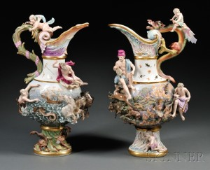 Sold for: $44,438 - Two Meissen Porcelain Ewers Emblematic of Fire and Water