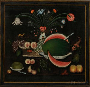 Sold for: $480,000 - American School, 19th Century      Still Life with a Basket of Fruit, Flowers, and a Cornucopia.