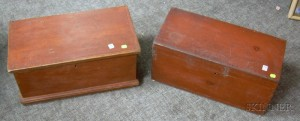 Two Red Painted Wooden Lidded Boxes