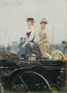 Sold for: $699,000 - Childe Hassam  (American, 1859-1935)      At the Grand Prix