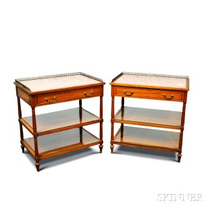 Pair Of Beacon Hill Collection Hardwood Marble Top Stands