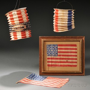 Two Lincoln Inaugural Paper Lanterns and Two Parade Flags