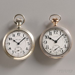 Two 16 Size American Watches Waltham and Hamilton