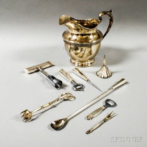 Delightful Gorham Sterling Silver Pitcher And Eight Barware Items