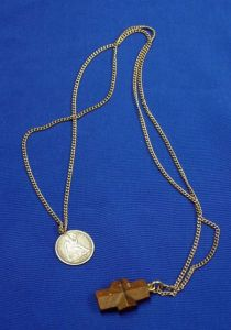 1877 U.S. Seated Dime Presentation Medal and a Stone Crucifix Pendant