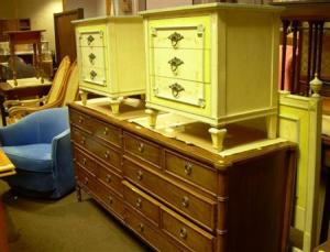 John Widdicomb Furniture Paint Decorated Headboard And A Pair Of  Three Drawer Chests,