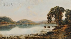 Edmund Darch Lewis (American, 1835-1910)      View with Cows Watering at a Lake
