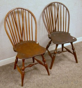Merveilleux Two Windsor Bow Back Brace Back Side Chairs.