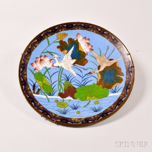 Asian Cloisonne Charger with Cranes