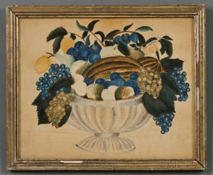 American School, Probably Maine, 19th Century      Theorem of Fruit in Glass Bowl.