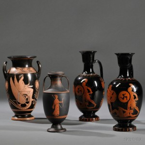 Four English Grecian Revival Red Figure Vessels