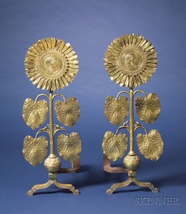 Sold for: $44,063 - Pair of Thomas Jeckyll Attributed Sunflower Andirons