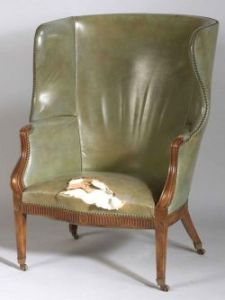 Georgian Green Leather Upholstered Mahogany Wing Chair