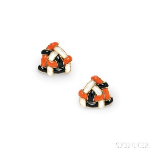 18kt Gold and Hardstone Inlay Earclips, Angela Cummings