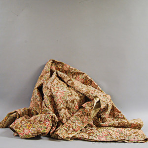 Brown Floral-printed Cotton Chintz Quilt