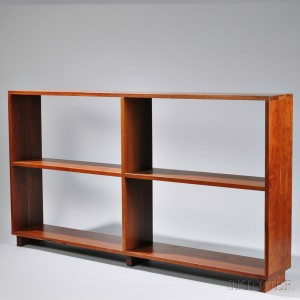 charles webb cherry bookcase late 20th century with four shelves and central upright