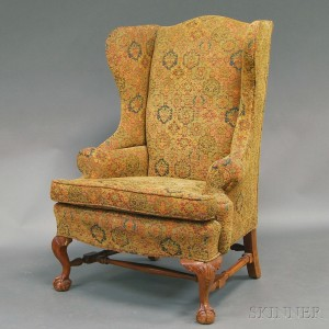 mahogany and upholstered wing chair