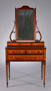 Sold for: $312,000 - Federal Carved Mahogany and Bird's-eye Maple Veneer Dressing Chest with Mirror