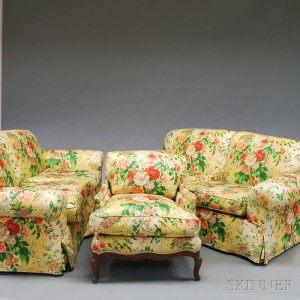 Pair of Floral Chintz Upholstered Settees and a French Louis XV-style Bergere   Armchair