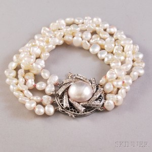 Multi Strand Freshwater Pearl Bracelet With 14kt White Gold Mabe And Diamond