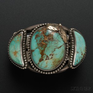 Large Navajo Silver, Gold, and Turquoise Bracelet