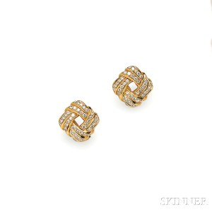 18kt Gold and Diamond Earrings, Angela Cummings