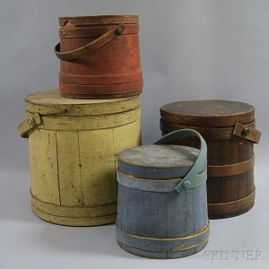 Four Mostly Painted Firkins
