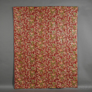 Red Floral-printed Cotton Chintz Quilt