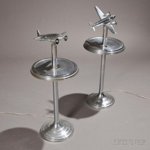 Pair of Art Deco Airplane Lamp Stands
