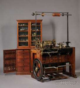 Sold for: $228,000 - Holtzapffel & Company Rose Engine Lathe No. 1636 and Cabinet of Accessories