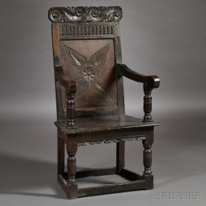 Exceptional Charles II Carved And Joined Oak Wainscot Chair