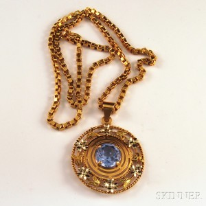 18kt Gold and Synthetic Blue Spinel Pendant Necklace