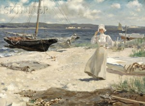 Sold for: $490,000 - Irving Ramsey Wiles (American, 1861-1948)      A Walk Along the Harbor Shore