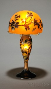 Sold for: $10,073 - Galle Cameo Glass Table Lamp