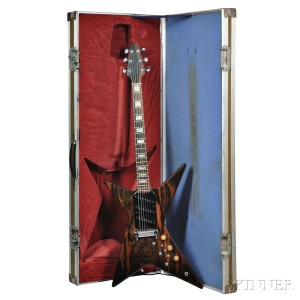 Megas X-1000 Electric Guitar, 1977, Macassar ebony top, flame birch back and neck, inscribed by maker on rear cavity cover X-1000 Guit
