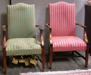 Two Federal Style Upholstered Mahogany Lolling Chairs.
