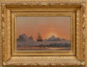 Sold for: $259,000 - William Bradford (American, 1823 - 1892)      Arctic Sunset with the Ice Bound  Panther.